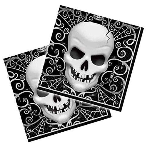 weiße Totenkopf Servietten für Halloween 16 Stück ()