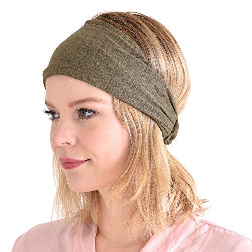 f Band Bandana natürlich elastisch Haarband Sport Mode Wickeln Beige ()