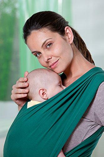 AMAZONAS Babytrage CarryBaby Petrol Bauchtrage 2 Schlaufen stressfrei ohne Knoten 4 Monate - 3 Jahre bis 15 kg - 5