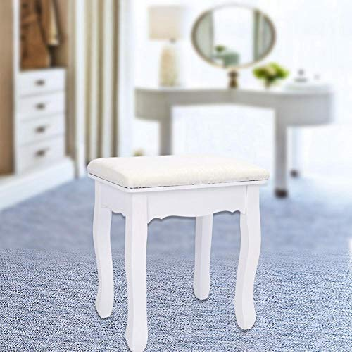 Generic Sitz, Barock, gepolstert, Klaviersitz, Schminkstuhl, Weiß, Vintage-Stil, Weiß