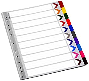 Rexel Mylar A4 Dividers 10 Part - Assorted Colours