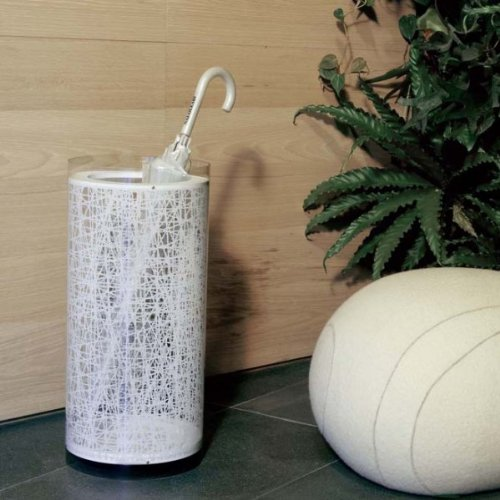 calicot Schirmständer von Emporium in Zylinderform, dekoriert mit einer weißen Textur in Weiß vinylic Material Material-textur
