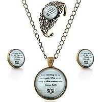 luremeŽ Time Gem Series Vintage Inspirational Proverbs Pendant Necklace Stud Earrings Hollow Flower Bangle Jewellery Sets (09000617)