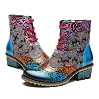 gracosy Womens Boots Leather Ankle Boots Lace Up Low Block Heel Winter Warm Snow Booties Vintage Bohemian Handmade Pattern Flat Leather Boots Shoes Ladies Outdoor Round Toe Walking Shoes Blue 8 UK