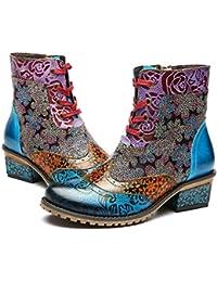 Botas de Cuero Liso,Camfosy Winter City Shoes con Tacones Planos Botas Botas con Cordones y Suela Cómoda para Pies Anchos Diseño Original Bohemian 2018 Marrón Rojo Azul