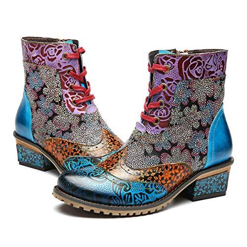 Gracosy donna stivaletti in pelle, scarpe da invernali neve stivali con tacco alto boots con cerniera modello impiantati boemi a pianta larga 37-42 taglia con comoda 2019 suola sconto natale regalo