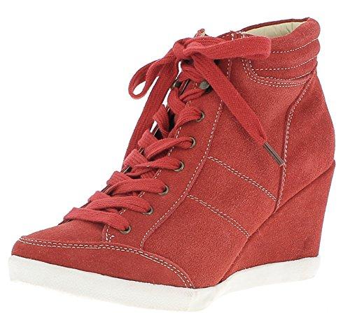 HOOPAH HOOPAH Damen Keil-Stiefelette 1125319, Farbe:rot, Größe:35 EU