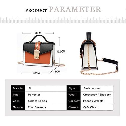 Stile di Yoome Stile Contrast Colore Flap Bag Chain Busta Borsa Per Donne Borse Polso Per Ragazze - Bianco Rosso