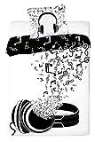 Musique linge de lit housse de couette 140x200 + TAIE 70x90 Idée Déco 100% Coton