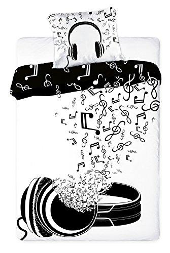 Musik-Bettwsche-Bettbezug-160-x-200-Kissenbezug-70-x-80-Dekoidee-100-Baumwolle