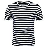 BURFLY Herren T-Shirt, Herren Sommer Casual O-Ausschnitt Pullover T-Shirt Top Bluse Männer Gestreiften Kurzarm Top T-Shirt (L, Schwarz)