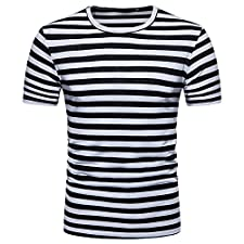 DOLDOA Men's Short Sleeves Summer Casual Sailor Stripe Round Neck Breathable Pullover T-Shirt Top Blouse,S-2XL(Black,Large)