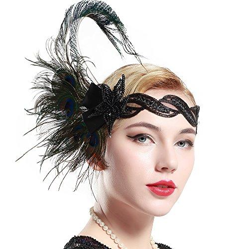 Stirnband Pfau Feder 20er Jahre Stil Flapper Haarband Inspiriert von Great Gatsby Damen Kostüm Accessoires (Stil 4) (20er Jahre Flapper Halloween Kostüm)