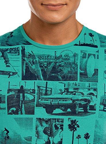 oodji Ultra Herren T-Shirt mit Strand-Druck Grün (6279O)