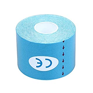 BOMIEN Kinesiology Elastic Tape Rope Sports Physio Muscle Strain Injury Support 5M*5cm Roll (Blue)
