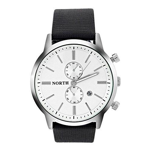 Uhren für Männer, Analog Round Quartz Lederarmband Date Luminous Hands Watch Armbanduhr(White Dial) (Armitron Männer Uhr)