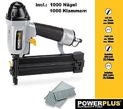Powerplus POWAIR03118,3 bar Schwarz, Silber–Druckluftnagler (16–40mm, 8,3bar, 78,68L, Schwarz, Silber)