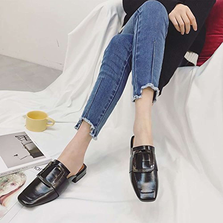 Qingchunhuangtang@ Sandales Pantoufles Sandales Sandales Pantoufles avec grossier Baotou Square 5010f8