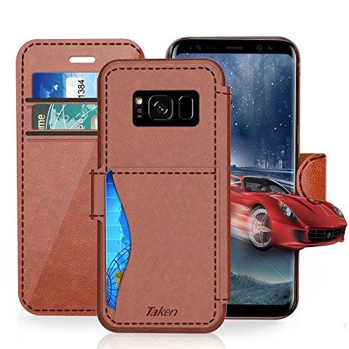 Samsung Galaxy S8 Hülle,Anspruchsvolles kreatives Design. Ladegerät, Datenkabel, Handy und Smartphone, Kamera, Bluetooth Headset, Headset und andere Funktionen des Portes vollständig geschützt, Samsung Galaxy S8 (Dark Brown)