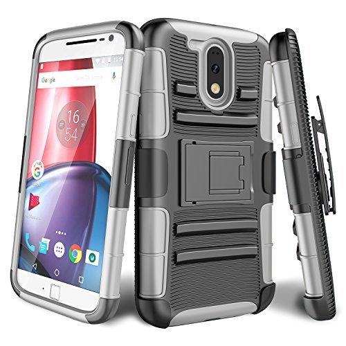 Moto G4Fall, Moto G4Plus Fall, bis [Knight Armor] Heavy Duty Rugged Holster federnden Armor Case [drehbarem Gürtelclip] [Standfunktion] Combo Cover Shell für Motorola Moto G 4. Gen 2016, Balck/Gray (Moto Cricket G Phone)