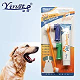 Jainsons Pet Products Toothbrush and Toothpaste Set, Vanilla Flavor Dogs Oral Care Cleaning Tool Dual-Sided Toothbrush and Pet Finger Toothbrush for Dogs and Most Pets