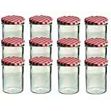 12er Set Sturzglas 435 ml Marmeladenglas Einmachglas Einweckglas To 82 rot karrierter Deckel