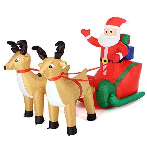Bakaji babbo natale gonfiabile su slitta con 2 renne autogonfiabile lunghezza 240 cm con kit fissaggio per esterno illuminazione led protezione ip44 addobbo e decorazione natalizia