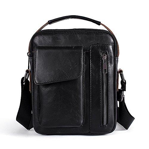 Echtes Leder Umhängetasche Klein Herren Tasche Mini Schultertasche Sling Handtasche Männer Crossbody Bag für Arbeiten Schule Geschäft Reise - Schwarz