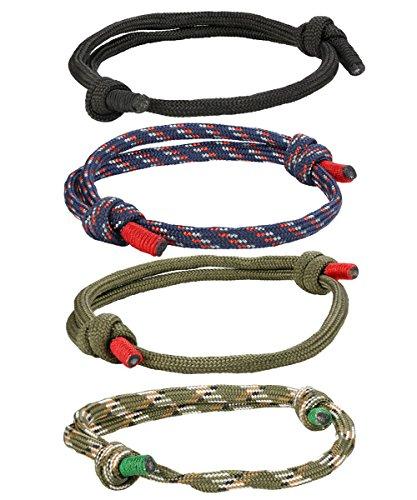 BE STEEL 4-6 Pcs Geflochtene Nautische Armbänder für Männer Damen Handgemachte Navy Seil String Bettelarmband Einstellbar (Wie Man Survival Armbänder)