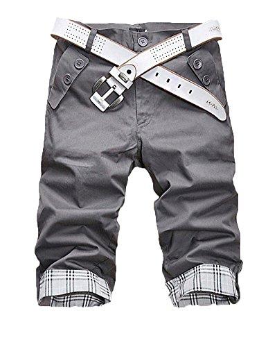 Uomo pantaloncini cargo shorts pantaloni tasconi con elastico fodera a scacchi pantaloncini casual pantaloncini da spiaggia ferro grigio s