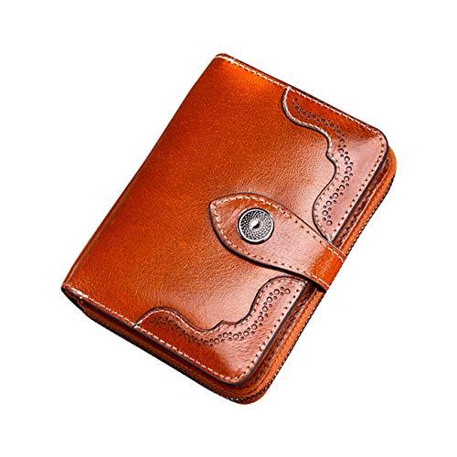 lymty Leder Geldbörse für Damen, Damen Small Compact Bifold Pocket Vintage Geldbörse Reißverschluss mit ID - Reißverschluss Compact Brieftasche