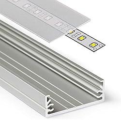 2M Aluminio Perfil wide24(WI) 2metros–Tira de–Perfil de aluminio anodizado para tiras LED con cubierta–Juego de carril lechoso de color blanco (Opal) satinado de Frosted transparente de Transparente con montaje de grapas y tapas, aluminio, satiniert-frosted, satiniert slide