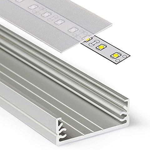 1m Aluprofil WIDE (WI) 1 Meter Aluminium Profil-Leiste eloxiert für