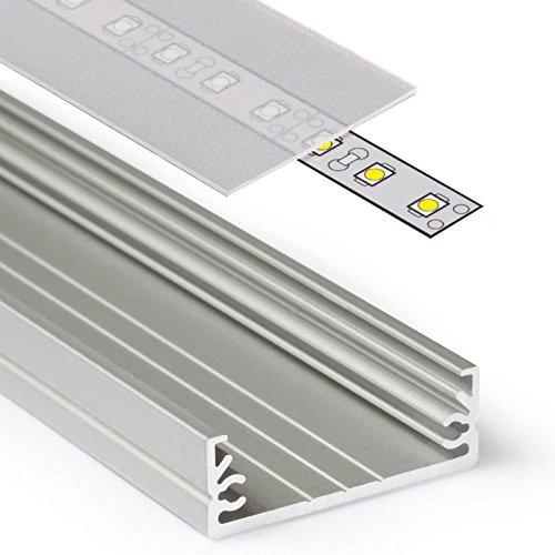 Frosted Led (2m Aluprofil WIDE (WI) 2 Meter Aluminium Profil-Leiste eloxiert für LED Streifen - Set inkl Abdeckung-Schiene satiniert-frosted diffuse halbtransparent mit Montage-Klammern und Endkappen (2 Meter satiniert slide))