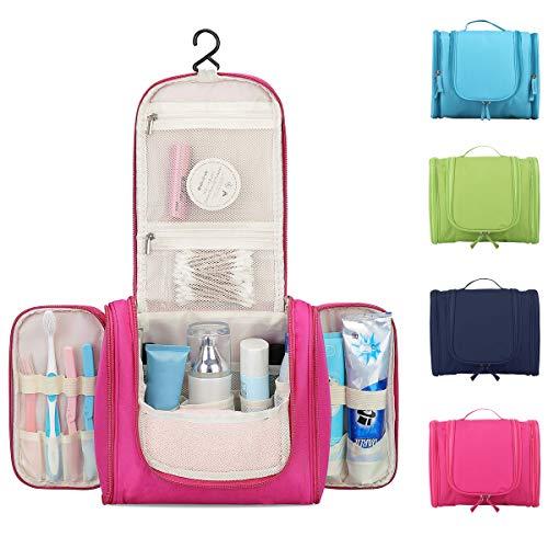Beauty Case da Viaggio Uomo Donna 16 Scomparti Borsa Da Toilette Grande Con Gancio Da Appendere Impermeabile Da Bagno Semi Rigido Portaoggetti Bag