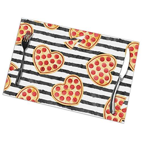 Tovagliette americana plastica,(set 6)pizza a forma di cuore - san valentino - black stripes_1269, antiscivolo tovaglietta in pvc lavabile in poliestere per feste in banchetto da cucina colorate