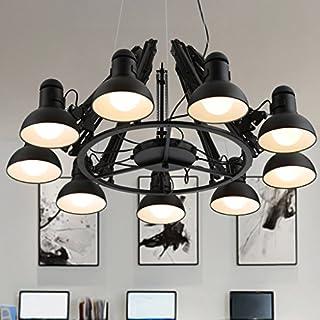 Helen Teleskop-Kronleuchter Industrie-Bügeleisen Büromöbel Büromöbel Restaurant Bar Licht (schwarz, 9 head)