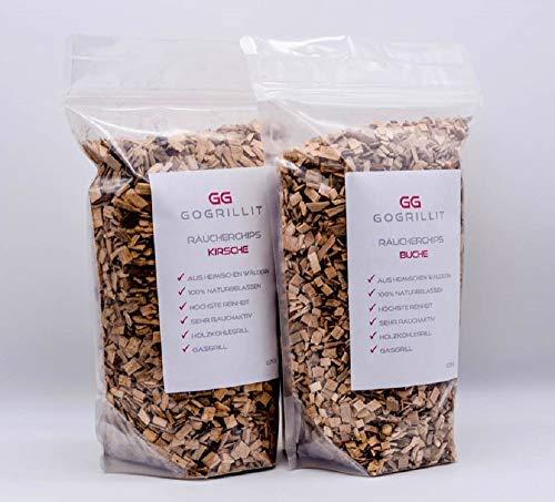 GOGRILLIT Räucherchips Set - Smoke Chips/Räucherspäne für Gasgrill, Holzkohlegrill, Smoker und Räucherofen geeignet - 100% natürlich aus heimischen Wäldern (Kirsche und Buche je 700g) -