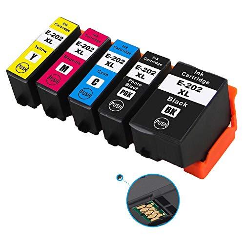 Ouguan Cartucce d'inchiostro Epson 202 XL Compatibile per Epson Expression Premium XP-6000 XP-6005 XP-6100 XP-6105(XP-6105, 1 Nero,1 Nero Foto,1 Ciano,1 Magenta,1 Giallo)