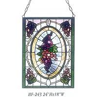 "Gweat HF-243 Pastoral Vintage Tiffany Style Vidrio Manchado Hecho a Mano Ventana de UVA Hanging Glass Panel Suncatcher, 24""x18"""