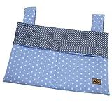 Bettutensilo, Wandutensilo, Betttasche mit 2 Taschen, Klettverschluß, 39x26cm, Stern blau  SmukkeDesign NEU