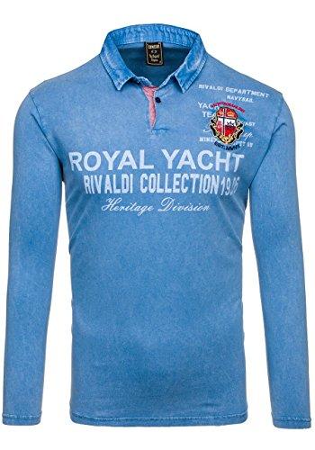 BOLF Herren Longsleeve Langarmshirt Sweatshirt Poloshirt T-Shirt Mix 1A1 Motiv Blau_2729