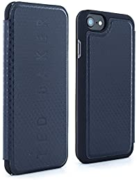 Official Ted Baker BURGS Card Slot Folio Style Case for iPhone 8 , Premium Protective Cover for Apple iPhone 8 - Navy