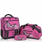 Set Schulranzen KEANU Schulrucksack + Sporttasche + Etui Box :: 25 Liter, Getränke-Netze, Rückenpolster und Reflektoren :: (Butterfly Azalea)