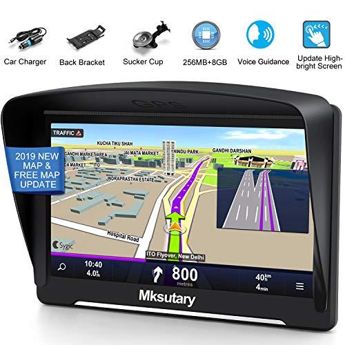 Auto Navigation, Navigationsgeräte für Auto, Wiederaufladbare LKW PKW Navi GPS, 7 Zoll hohe-Helligkeit Kapazitiver Touchscreen 8GB 2D/3D EU Maps Kostenloses Kartenupdate mit POI Sprachführung