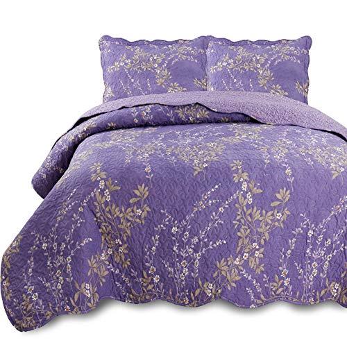 KASENTEX Country-Chic bedrucktes Vorgewaschenes Set Mikrofaserstoff mit Blumenmuster King-Size-Bettdecke + 2 Shams. Lila - Bett Master-schlafzimmer
