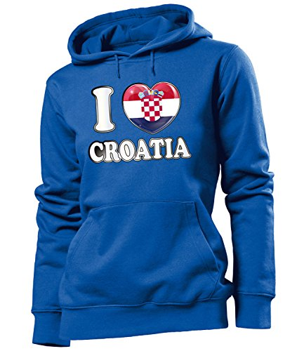 Golebros Kroatien Croatia Hrvatska Fan Artikel 4784 Fuss Ball EM 2020 WM 2022 Hoodie Pulli Sweatshirt Kapuzen Pullover Flagge Frauen Damen Mädchen Girls S
