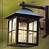 XQD Retro Wandleuchte, Wasserdichter Outdoor-Balkon Garten Ganglichter, außen Treppen Wandleuchte Terrasse Garten Villa Tür Licht,24 * 26,5 cm
