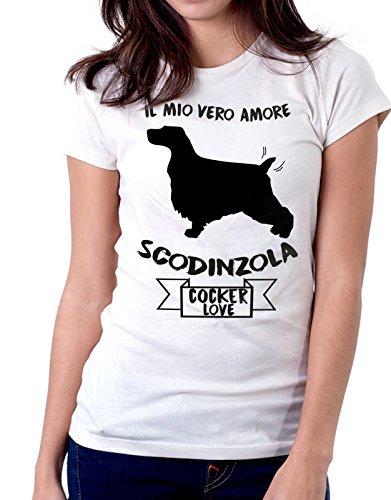 Tshirt Il mio vero amore scodinzola - cocker love - dog - humor - tshirt simpatiche e divertenti - Tutte le taglie by tshirteria Bianco