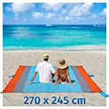 Stranddecke Sandfreie XXXL 270x245cm Picknickdecke Campingdecke Strandtuch Wasserdichte Tragbar Tasche Decke mit 6 Tasche und 6 Zeltstöpse Schnell Trocknende für Picknick, Strand, Wandern und Camping